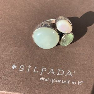 R2164 Silpada sterling Mother of Pearl ring